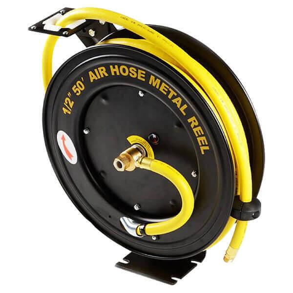 50 Ft. 1/2 Retractable Rubber Air Hose Reel Automatic Rewind Return