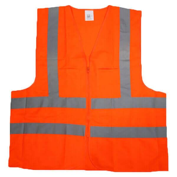 Safety Vest Orange High Visibity 2 Pocket Ansi Large