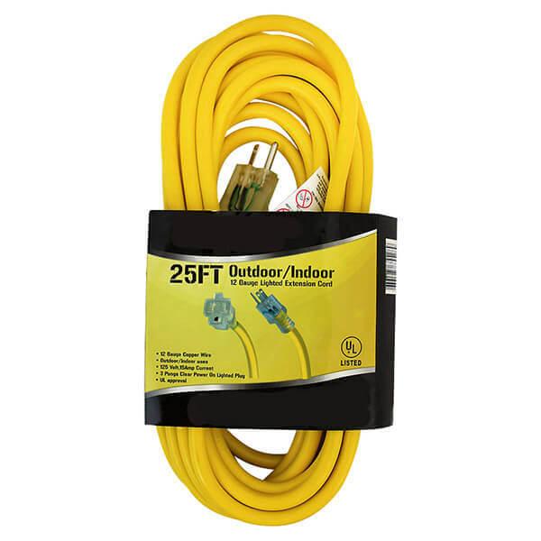 Extension Cord Electrical Indoor Outdoor 25 ft. 12 Ga.