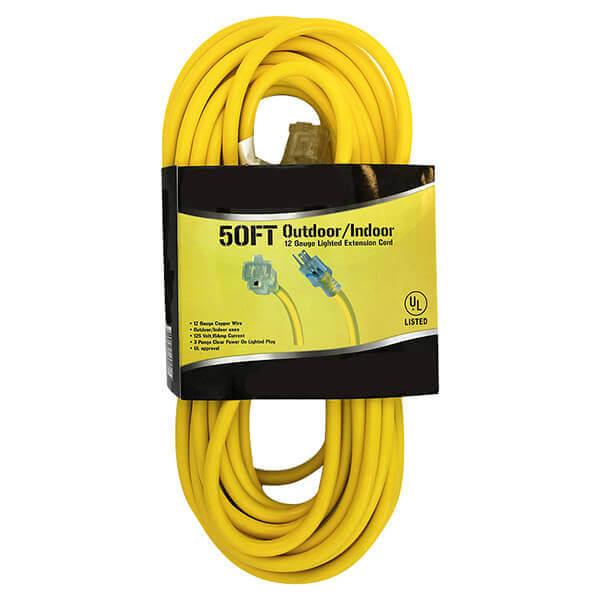 Extension Cord Electrical Indoor Outdoor 50 ft. 12 Ga.