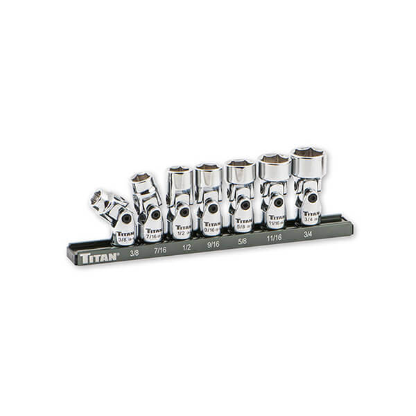 Titan Tools 7 Pc SAE 3/8 Inch Dr. Universal Joint Set 17411