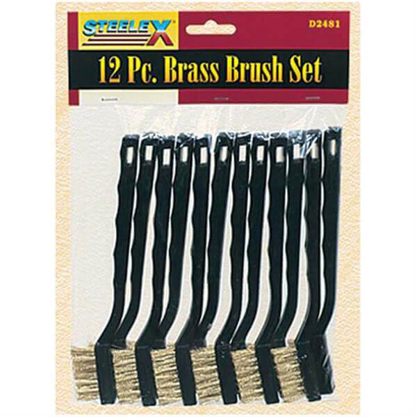 Brass Wire Bristle Brush Set 7.5 inch Length 12 Pieces Steelex D2481