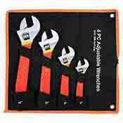 4 Pc. Adjustable Wrench Set Chrome Plated Soft Grip 6, 8, 10, 12 Inch